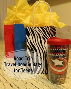 Road trip travel goodie bags for teens road trip snacks, road trip games, r Bags For Teens, Gifts For Teens, Travel Gifts, Travel Bags, Travel Rewards, Travel Trip, Road Trip Games, Road Trips, Road Trip Essentials