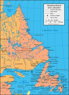 Newfoundland and Labrador Canada large color map Almost gotten