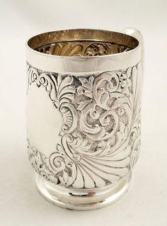 Antique Victorian Sterling Silver Mug/Tankard, 1889