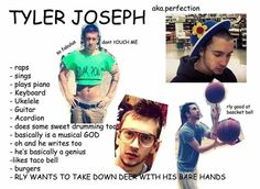 Why Tyler is the most perfect man ever Tyler And Josh, Tyler Joseph, Emo Bands, Music Bands, Queen Of Everything, Music Pics, Top Memes, Band Memes, Second Best