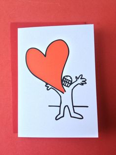 Handmade Valentines Card gift idea by Jonathan dixon found on MyOwnCreation: I Love You! This lad has a lotta love for you! A perfect card to say I LOVE YOU!Hand-drawn and professionally printed on 350GSM card stock.Comes with a white or red envelope