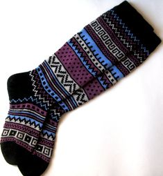 Back to school Scandinavian pattern rustic autumn fall winter knit knee-high black white lilac blue wool socks Christmas gift CUSTOM MADE Cozy Socks, Fun Socks, Happy Socks, Scandinavian Pattern, Russian Winter, Camping Outfits, Stocking Tights, Blue Wool, Purple Yellow