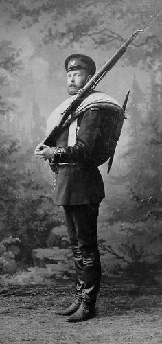 "Grand Duke Sergei Alexandrovich Romanov (11 May 1857-17 Feb 1905) Russia in military uniform with gun. 7th Child of Tsar Alexander II Nikolaevich Romanov ""Sasha"" (1818-1881) & Marie-Maria (Maximilienne Wilhelmine Marie) (Maria Alexandrovna) (1824-1880) Hesse, Germany."