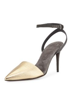 Monili Ankle-Wrap d'Orsay Pump, Gold