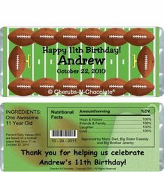 The Candy Bar Wrapper - Football Candy Wrappers, $0.87 (http://www.thecandybarwrapper.com/football-candy-wrappers.html)
