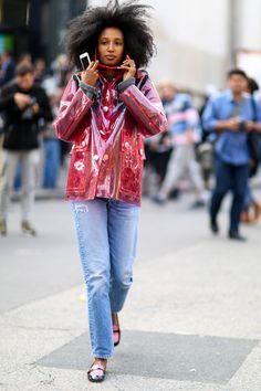 Denim in street style. Julia Sarr Jamois wearing Miu Miu at Paris Fashion Week Spring 2015