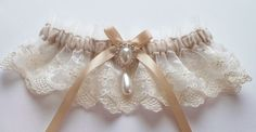 Wedding Garter in Ivory Lace on Champagne Band with Pearl and Crystal Detail - The MEREDITH Garter