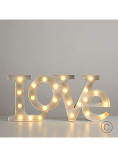 'Love' Shaped Wall Hanging Light with 24 Warm White LEDs