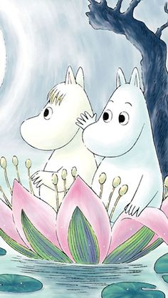 The Moomins; Moomintroll and Snorkmaiden Cute Characters, Cartoon Characters, Moomin Wallpaper, Moomin Valley, Tove Jansson, Bullet Journal Art, Cute Illustration, Cute Wallpapers, Art Pictures