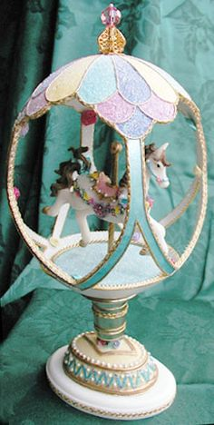 A carousel made from an Ostritch egg.