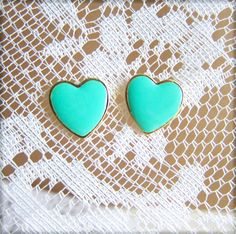 Heart Stud Earrings - FREE SHIPPING via Etsy Mint Green Bridesmaids, Wedding Gifts For Bridesmaids, Mint Earrings, Heart Earrings, Heart Jewelry, Bridal Jewelry Sets, Bridesmaid Earrings, Wedding Earrings, Bridal Gifts