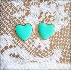 Mint heart studs