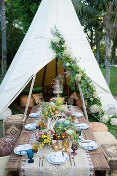 a boho picnic setting with Moroccan ottomans, an embroidered table runner, colorful wildflowers and herbs and pampas grass Reception Decorations, Table Decorations, Centerpieces, Picnic Set, Bridesmaid Jewelry Sets, Green Wedding Shoes, Green Shoes, Bridal Sets, Wedding Table