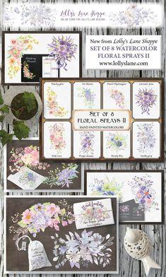 Set of 8 watercolor clip art sprays II Quick Cards, Card Designs, Sprays, Purple, Pink, Gallery Wall, Bloom, Pastel, Clip Art