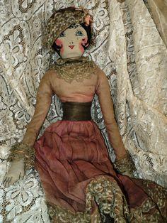1920s Flapper Boudoir Doll French Original Metallic Lace Leggings Dress Lame Ooh La La!!!