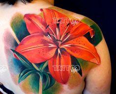 Tattooed flower by Ivana, Kaleidoscope Tattoo, Sydney Australia. www.tattoolifegallery.com