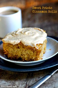 Sweet Potato Cinnamon Rolls and coffee for breakfast - the perfect day-after holiday treat! #vegan