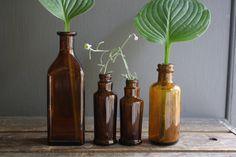 collection of amber brown glass medicine bottles from, little byrd vintage
