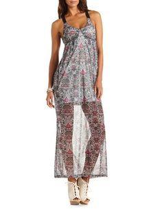 Crisscross Back Mesh Maxi Dress: Charlotte Russe CR Sweet Summer Escape | Big Fashion Show maxi dress #dkny #dress