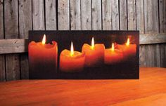 Pillar Candles wall art with flickering candle light  shelley b home and holiday
