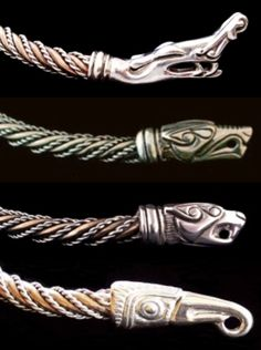 Viking Neck Torc Terminals by Urweg: 1) Urnes Dragon 2) Wolf 3) Cat 4) Raven http://www.urweg.com/list/torcs.html