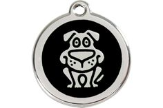 Black Background Loveable Puppy Dog Sit Quality Enamel And Stainless Steel Animal Identification Information Charm