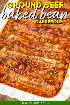 Baked Bean Casserole, Ground Beef Casserole, Casserole Dishes, Casserole Recipes, Baked Bean Recipes, Meat Recipes, Cooking Recipes, Dinner Recipes, Dinner Ideas