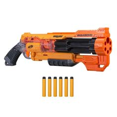 The Nerf Doomlands 2169 Vagabond is a pump-action blaster with a six-dart rotating barrel. It comes with six Nerf darts. Toys R Us, Kids Toys, Arma Nerf, Pistola Nerf, Cool Nerf Guns, Nerf Darts, Nerf Toys, Modelos 3d, Multimedia