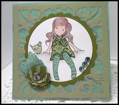 A Gorjuss Girl card made using Cheery Lynn Design dies