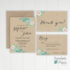 Rustic Wedding Invitation Set printable. von SerendipityPaperieCo