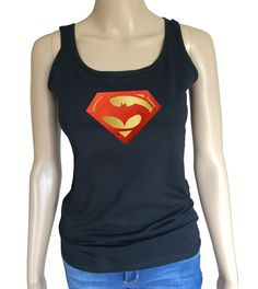 Womans Batman v Superman tank top with shiny foil logo. Amazing! by iganiDesign on Etsy