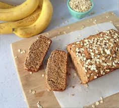 Banana Bread  3 cups rolled oats, ground into flour; 2 Tbs. baking powder, ½ tsp. cinnamon, ¼ tsp. sea salt, pinch of nutmeg, 3 large ripe bananas, ⅓ cup almond butter, ⅓ cup coconut nectar, maple syrup, or honey; 1-2 Tbsp coconut sugar, 1 Tbs. melted coconut oil, 1 Tbs. flaxseed meal, 1 tsp. psyllium husk powder, 1 tsp. vanilla extract, 1 cup walnuts or chocolate chips, optional; 1 Tbs. coconut sugar for topping, optional; 2 Tbs. rolled oats for topping, optional