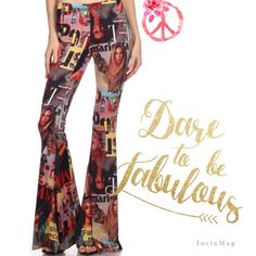 "WILD MAGAZINE COVER COLLAGE BELL BOTTOMS! These flare leg pants, also known as bell bottoms are the wildest I've seen and I love them! Magazine covers from around the globe are printed in a collage all over these fab pants. Polyester/spandex blend. Embrace your inner hippie chick. Made in the USA#wildandcrazy #unique #fun #hellacute PLEASE DO NOT BUY THIS LISTING! I will personalize one for you.♦️S: 26-38"" low hip/seat 35-42"" inseam 31""♦️M: waist 27-40"" low hip/seat 38-48"" inseam 32""♦️L…"