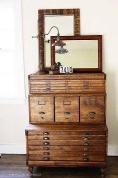 Surveyor's storage or dresser. For all your knick knacks..