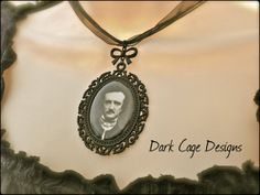 Gothic Victorian Edgar Allen Poe Cameo Necklace by DarkCageDesigns, $17.25