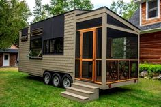 """""""Orono"""" Debut Tiny House on Wheels by Evergreen Tiny Homes Tiny House Movement // Tiny Living // Tiny House on Wheels // Tiny House Exterior // Tiny Home Porch // Tiny Home // Architecture // Home Decor Tiny House Big Living, Tiny House Plans, Tiny House On Wheels, Homes On Wheels, Tiny House Exterior Wheels, Small Room Design, Tiny House Design, Modern House Design, Tyni House"""