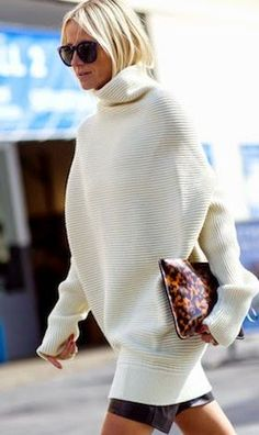 White Oversize Knitted Turtleneck