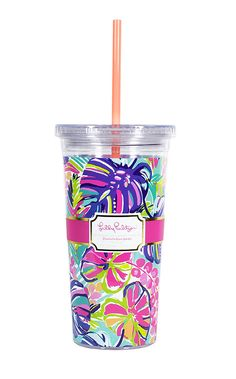 Lilly Pulitzer Acrylic Tumbler with Straw - Exotic Garden