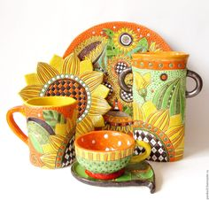 """Купить Керамический сервиз """"Подсолнухи"""" - комбинированный, подсолнухи, подсолнух, керамика ручной работы, Керамика Ceramic Art, Planter Pots, Clay, Pottery, Mugs, Tableware, Instagram Posts, Crafts, Handmade"""