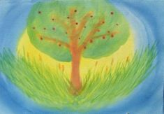 Waldorf ~ grade ~ Old Testament ~ Creation Story ~ Creation of the Plants ~ watercolor painting Wet On Wet Painting, Painting For Kids, Watercolor Plants, Watercolor Paintings, Third Grade, Grade 3, Jonah And The Whale, Days Of Creation, Form Drawing