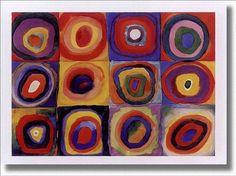 Arte abstracto. Cuadrados con círculos concéntricos