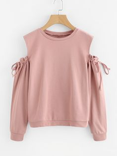 Shop Cold Shoulder Drawstring Sleeve Sweatshirt at ROMWE, discover more fashion styles online. Crop Top Outfits, Cute Casual Outfits, Pretty Outfits, Stylish Outfits, Indian Fashion Dresses, Girls Fashion Clothes, Teen Fashion Outfits, Stylish Hoodies, Stylish Tops