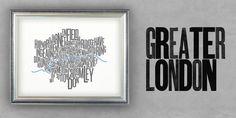 Greater London Font Map 2Colour Screenprint 700x500mm by Fontmap, £75.00