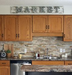 Cabinet backsplash counter color. Galvanized Market Sign with a Weathered Look
