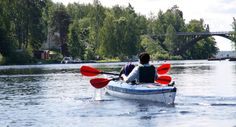 Canoeing in the lakes is such a good way to travel and see the islands. You can stop and camp in many places too! Ways To Travel, Tour Operator, Canoe, Finland, This Is Us, Boat, Tours, Camping, Lakes