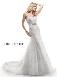 Palartzo - Bridal Gown by Maggie Sottero (removable grosain ribbon belt with swarovski crystal)