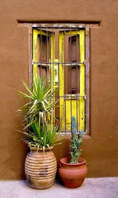 Yellow window on an adobe house in Tucson, Arizona. I've always been drawn to doors and windows in vivid colors. Southwest Decor, Southwest Style, Spanish Revival, Spanish Style, Spanish Colonial, Adobe Haus, Vibeke Design, Santa Fe Style, Window Boxes