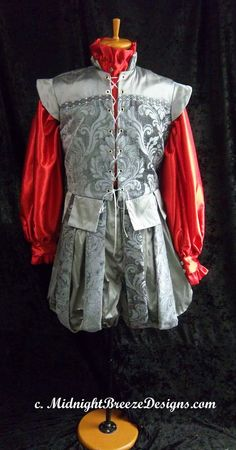 MADE TO ORDER  Mens Silk Renaissance  Elizabethan  Shakespeare Costume, Silver Silk. $235.00, via Etsy.