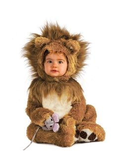 Rubies Lion Cub Infant Halloween Costume – 3 Sizes  Before your lion grows up to be King of the Forest, let him/her be little in this sweet Lion Cub onesie. Featuring a one-piece jumpsuit of lion fur with attached mane and nonskid feet. A headpiece with lots of lion mane hair and sweet little ears and of course, every cat must have his mouse rattle!