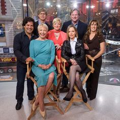 """The Little House on the Prairie"" cast members Matthew Labyorteaux, Michael Landon, Jr., Alison Arngrim, Dean Butler, Lindsay Greenbush, Karen Grassle and Melissa Sue Anderson (l.-r.) swapped the prairie for the big city when they reunited on the set of ""Extra"" in New York on April 30, 2014."